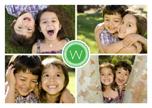 Four Photos & Initial in Green Holiday Photo Card